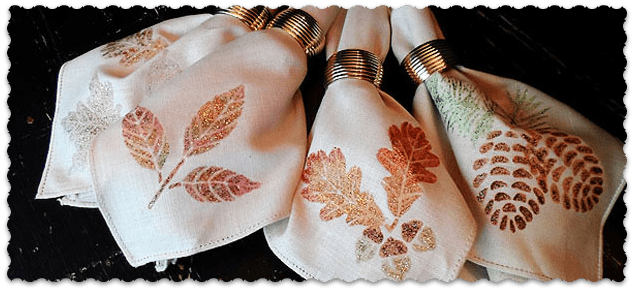 Napkins: Glitter Leaves & Acorns