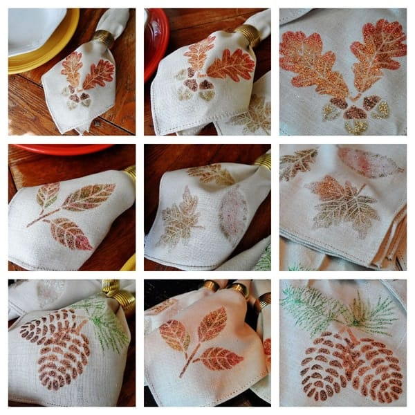 Thanksgiving Napkins: Glitter Leaves and Acorns collage