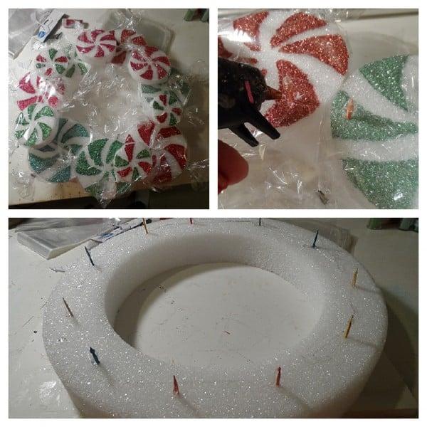 Peppermint Candy Wreath steps - CraftsbyAmanda.com