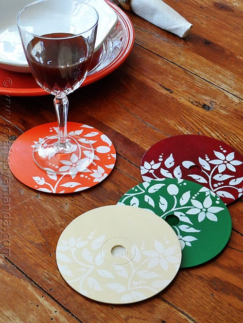 Stenciled CD/DVD Coasters - CraftsbyAmanda.com