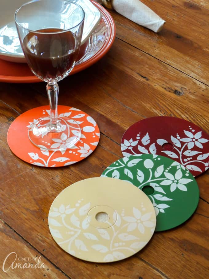 Stenciled CD/DVD Coasters