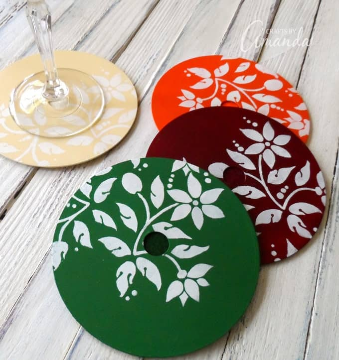 dvd coasters a pretty painted stencil project perfect for fall