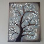 White Cherry Blossom Tree Painting