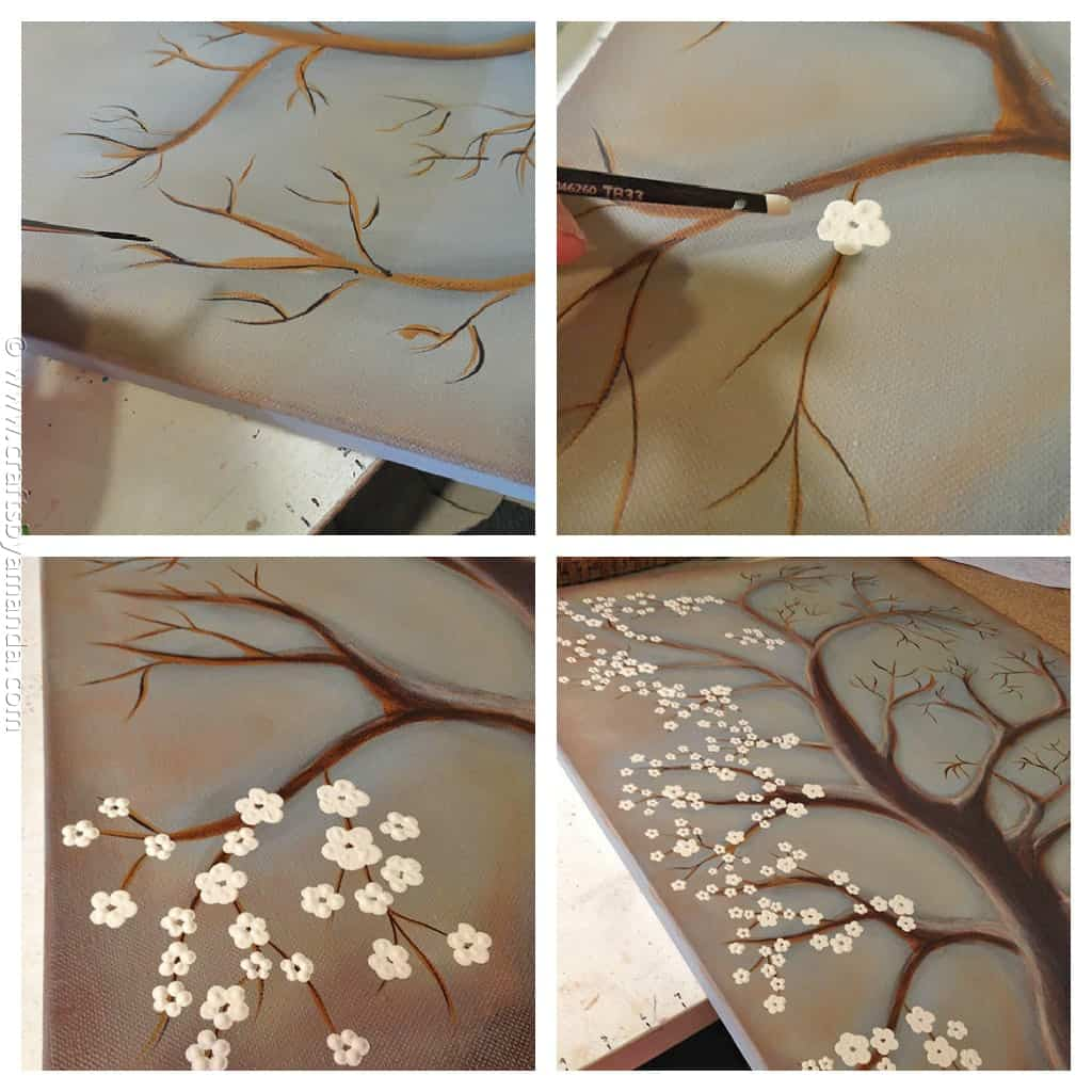 White Cherry Blossom Tree Painting Crafts By Amanda