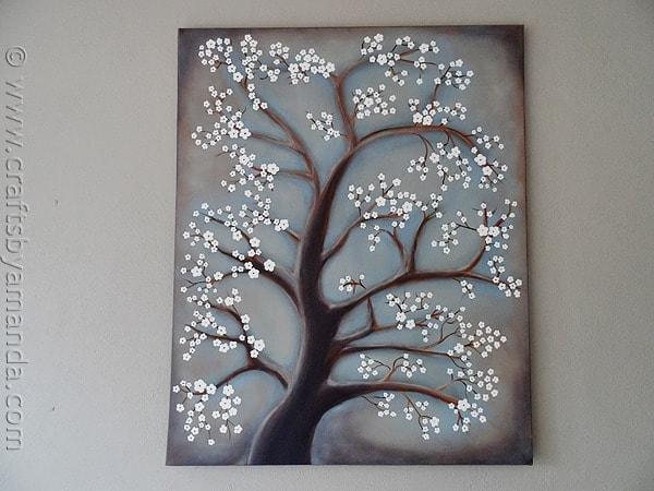 White Cherry Blossom Tree Painting by @amandaformaro CraftsbyAmanda.com