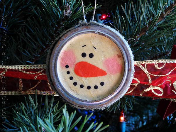 Canning Lid Snowman Ornament