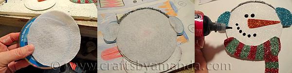 Recycled CD Glitter Snowman - CraftsbyAmanda.com