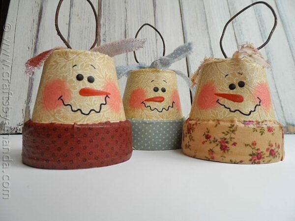 Antique Clay Pot Snowmen