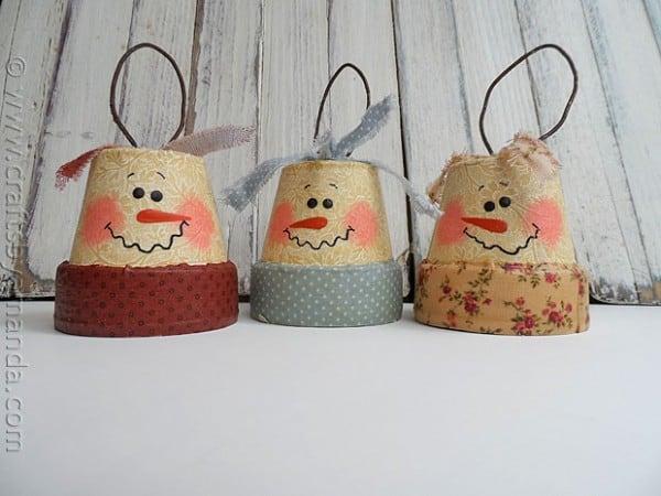 Vintage Clay Pot Snowman Ornaments - CraftsbyAmanda.com