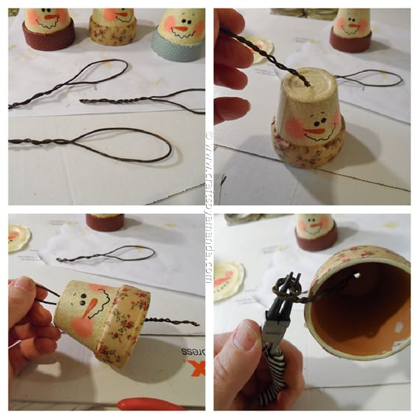Vintage Clay Pot Snowman Ornaments (steps) - CraftsbyAmanda.com