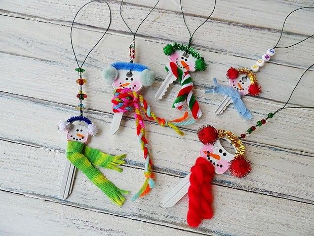 Recycled Key Snowman Ornaments Crafts By Amanda