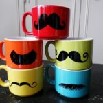 Colorful Mustache Mugs