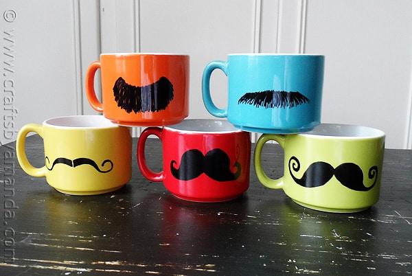 colorful mustache mugs craftsbyamandacom - Colorful Mugs