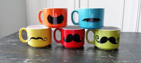 Colorful Mustache Mugs - CraftsbyAmanda.com