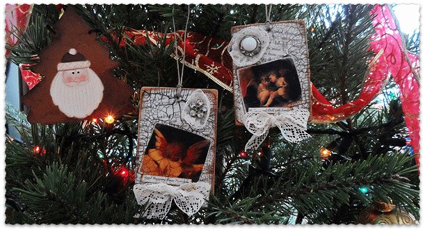 Vintage Crackled Cherub Ornaments