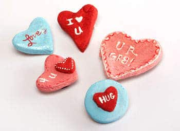 Valentine's Day crafts for kids - Salt Dough Heart Magnets