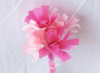Valentine's Day crafts for kids - Bouquet of Tissue Paper Carnations