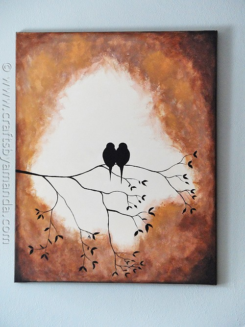 silhouette painting this adorable birds on a branch