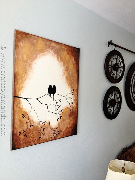 Beautiful Birds on a Branch Silhouette Painting using acrylic paint! @amandaformaro CraftsbyAmanda.com