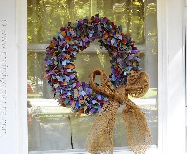 Colored Denim Scrap Wreath - CraftsbyAmanda.com @amandaformaro