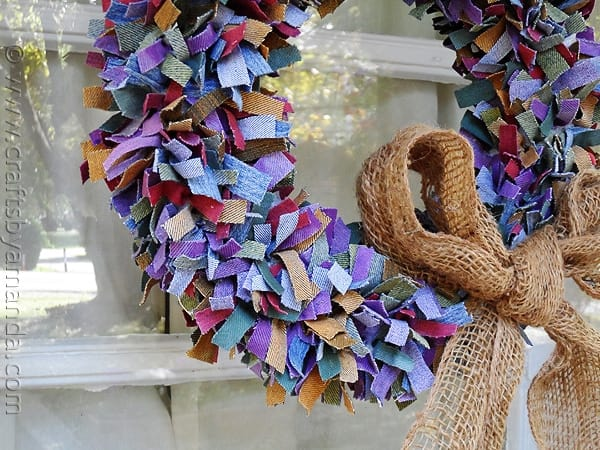Colored Denim Scrap Wreath - CraftsbyAmanda.com @amandaformaro