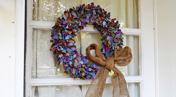 Colored Denim Scrap Wreath