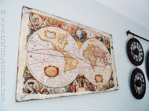 Make a Distressed Crackled Vintage Map from a poster! CraftsbyAmanda.com @amandaformaro