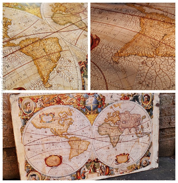 Make a Distressed Crackled Vintage Map from a poster! CraftsbyAmanda.com @amandaformaro