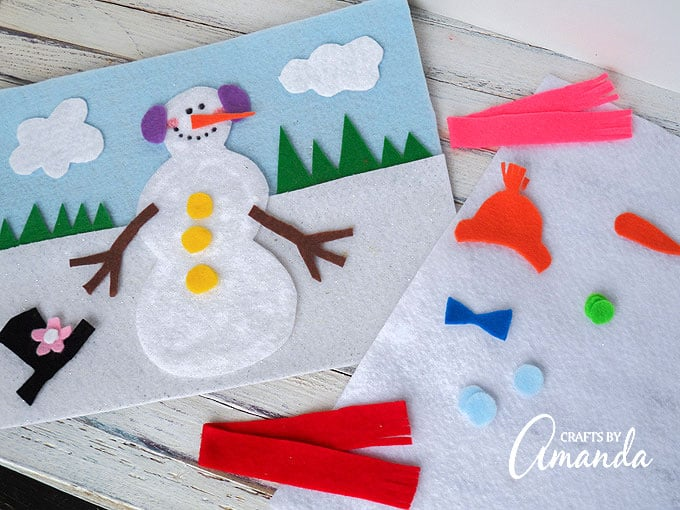 Snowman Felt Board craft. Use felt to create a snowman