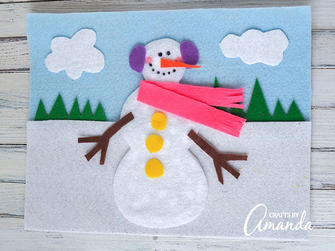 Adorable felt snowman board