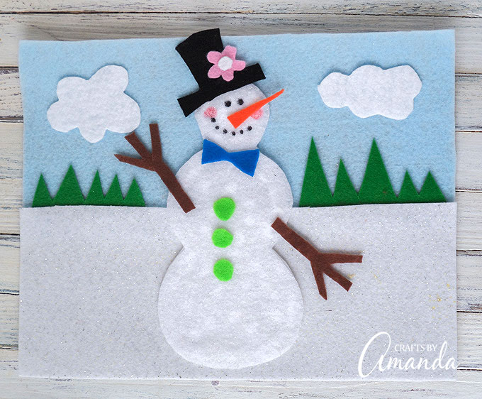 Snowman craft using felt