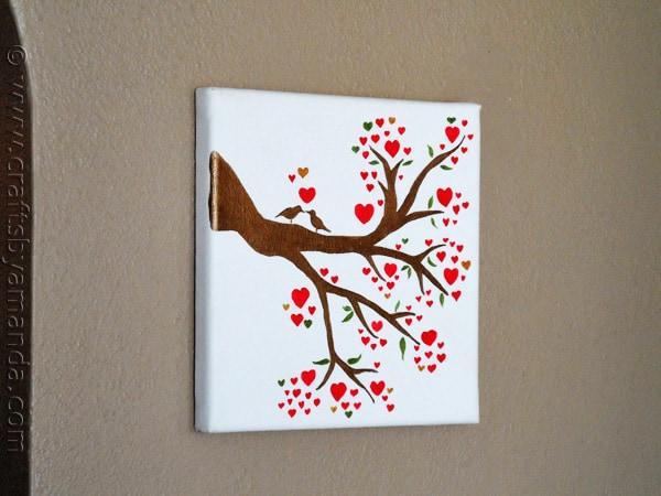 Beautiful Birds on a Branch Love Birds in a Heart Tree on Canvas CraftsbyAmanda