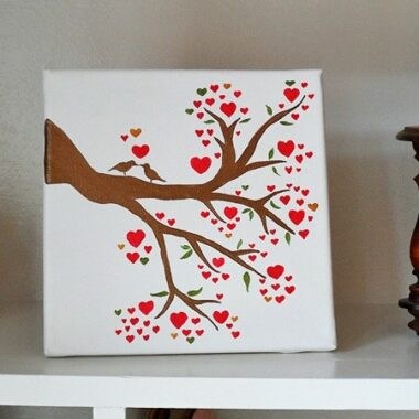 Birds on a Branch: Love Birds in a Heart Tree on Canvas - CraftsbyAmanda.com @amandaformaro