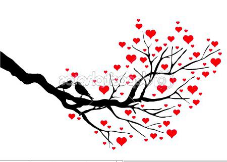 Birds On A Branch Love In Heart Tree