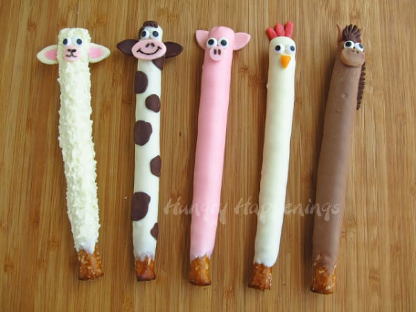 Chocolate farm animal pretzels - inspired by Craft Stick Crafts: Barnyard Farm Animals