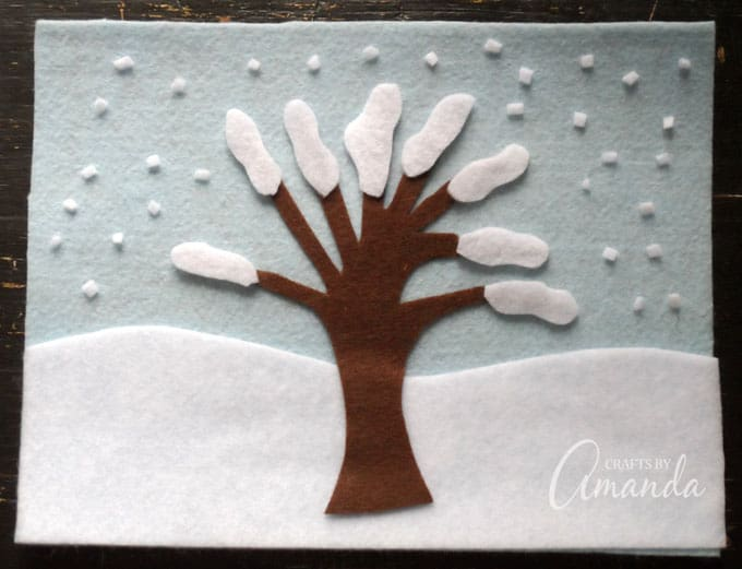If snow is a common occurrence for you and you don't reach balmy temperatures, even in the middle of summer, simply adjust your accessories to account for that. Make this felt board to coincide with your seasons!