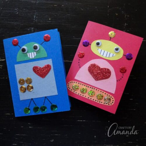 These cute robot Valentines are perfect for any child, boy or girl! Use supplies such as construction paper and glitter to create your own robot designs.