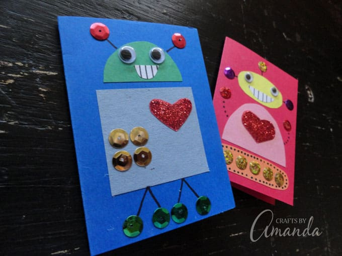 Blue and red robot valentines cards