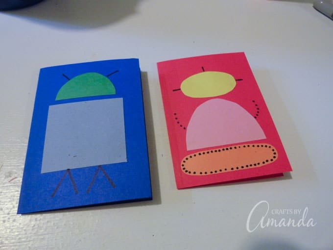 Construction paper robot valentines