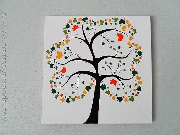 Shamrock crafts shamrock tree on canvas for Ideas for arts and crafts for adults