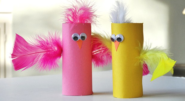 Spring Craft: Cardboard Tube Birds