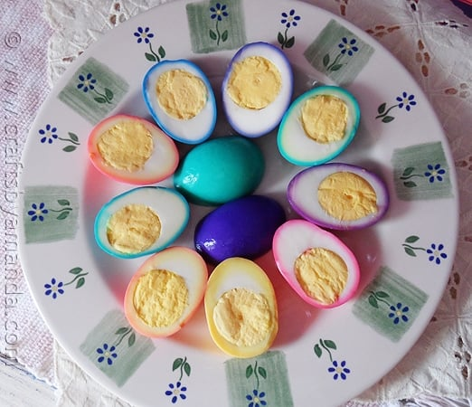 Beautiful rainbow ringed Colored Easter Eggs by CraftsbyAmanda.com @amandaformaro