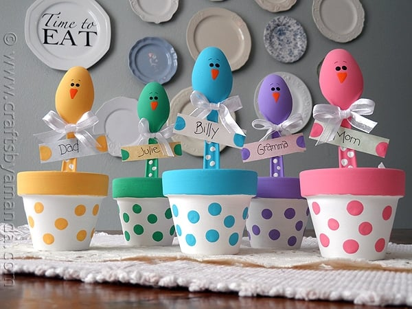Easter chick craft colorful place holders for Spring craft ideas for adults