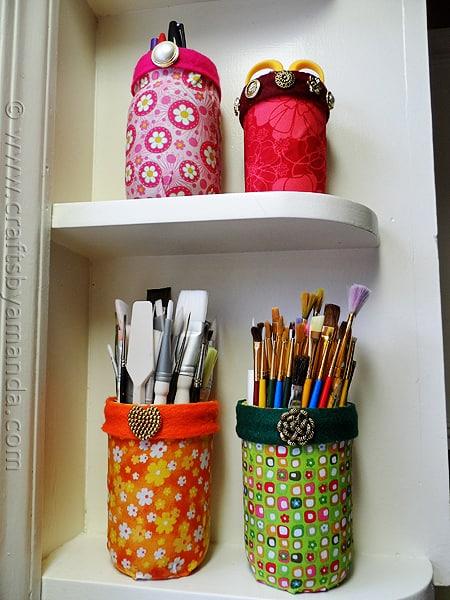Mod Podge Fabric Jars via CraftsbyAmanda.com @amandaformaro