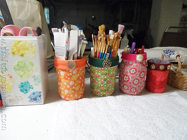 Mod Podge Fabric Jars via CraftsbyAmanda.com @amandaformaro