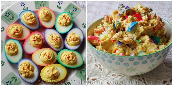 Beautiful rainbow ringed Colored Easter Eggs, deviled eggs and egg salad by CraftsbyAmanda.com @amandaformaro