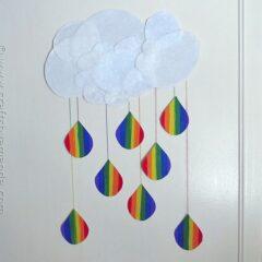 Rainbow Crafts: Cloud and Rainbow Raindrops from CraftsbyAmanda.com @amandaformaro