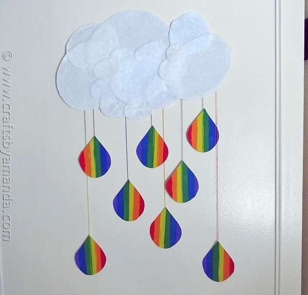 Ordinary Wall Hanging Craft Ideas For Kids Part - 8: Rainbow Crafts: Cloud And Rainbow Raindrops From CraftsbyAmanda.com  @amandaformaro
