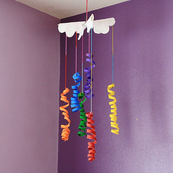 Coiled Cardboard Tube Rainbow Mobile by @amandaformaro