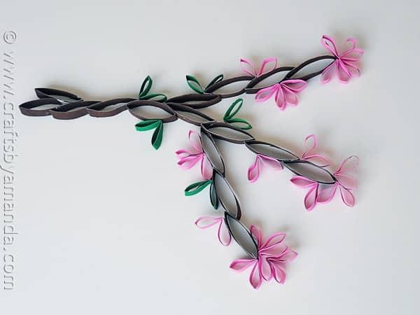 Epic Cardboard Tube Wall Art Cherry Blossoms from CraftsbyAmanda amandaformaro